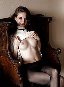 Coquette cutie Lanah Adams public teasing in her sexy pantyhose