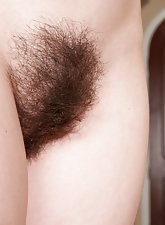 Hairy babe Annabelle Lee plays on the phone