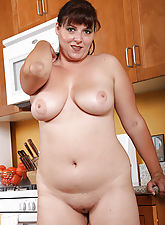 Busty Kimber D from AllOver30 having some fun in the kitchen