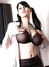 Jennis' pierced tits in black lingerie