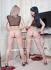 Snezha drives her dildo deep into Lisa