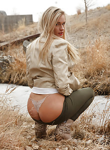 Hot blonde amateur Dannell Norfolk teasing in public with her tits and undies