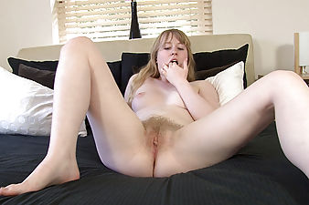 Creamy natural Satine Spark is back and ready to get down and dirty! Her snow white blonde pussy hair glistens as she finger fucks her perfect bush from behind.