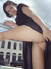 Cori exposes her huge tits in public